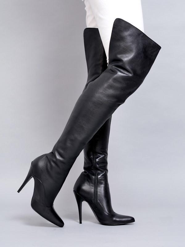 Boots - 1666-623 - Vitello nero - High Heels Boots by FUSS